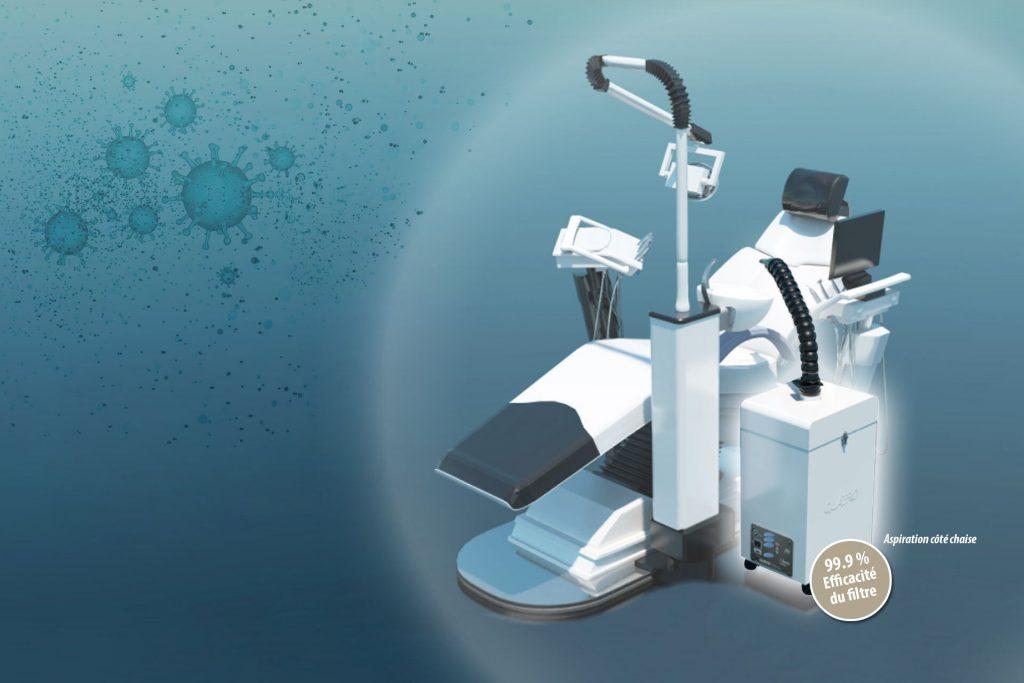 Protéger nos dentistes, notre personnel et nos patients des contaminants en suspension dans l'air comme les virus