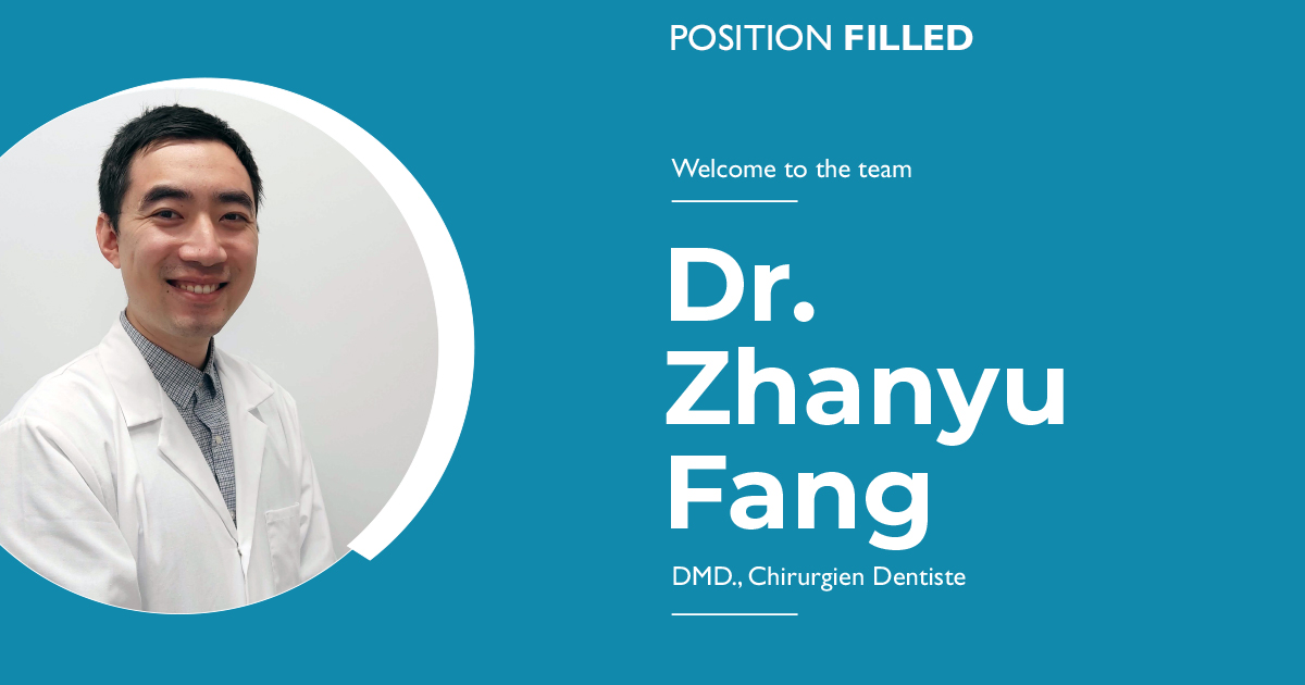 Join us in welcoming Dr. Zhanyu Fang to our clinic.